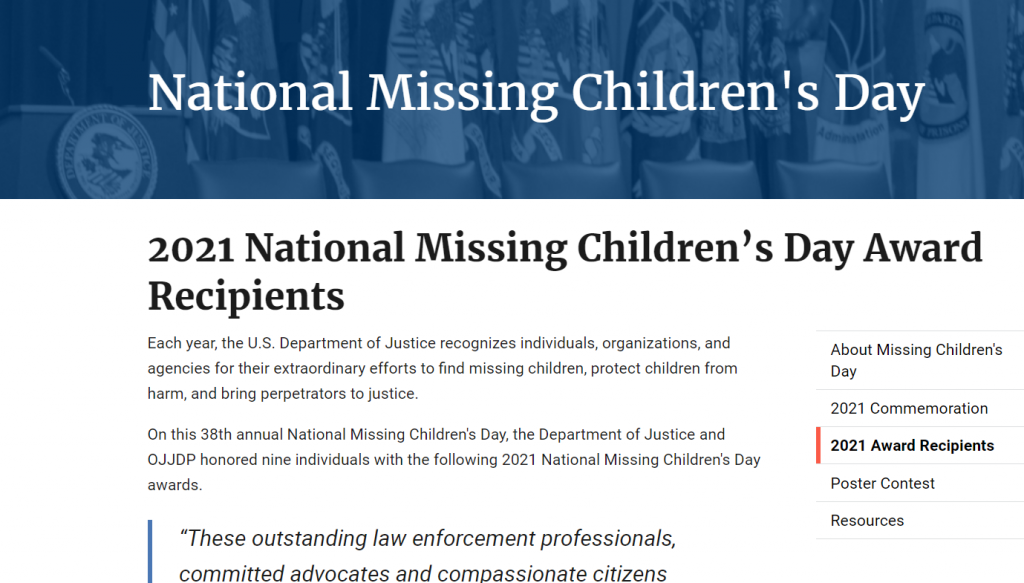 Alt tag: Image of US Department of Justice web page recognizing the 2021 National Missing Children's Day Awardees